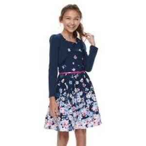 Knit Works Floral Skater Dress & Shrug Set…